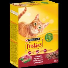 Friskies,сухой корм для кошек, мясное ассорти: мясо,курица,овощи,уп.400гр.