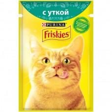 Friskies,влажный корм для кошек, кусочки с уткой в подливе,85гр.