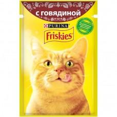Friskies,влажный корм для кошек, кусочки с говядиной в подливе,85гр.