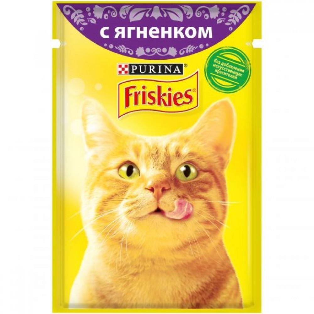 Friskies,влажный корм для кошек, кусочки с ягненком в подливе,85гр.