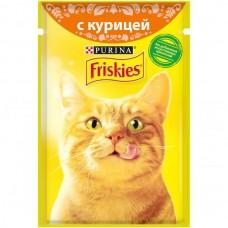 Friskies,влажный корм для кошек, кусочки с курицей в подливе,85гр.