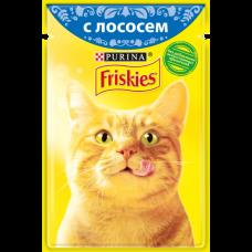 Friskies,влажный корм для кошек,кусочки с лососем в подливе,85 гр.