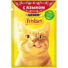 Friskies,влажный корм для кошек, кусочки с языком в подливе,85гр.