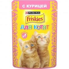 Friskies,влажный корм для котят, кусочки с курицей в подливе,85гр.
