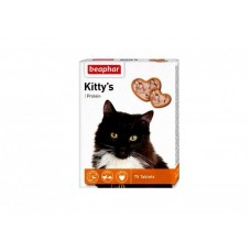 Beaphar Kitty*s Protein,сердечки с протеином,витамины для кошек,уп.75 таблеток