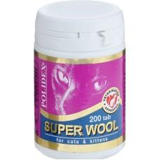 Polidex Super Wool,витамины для шерсти и кожи кошек,200 таблеток