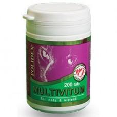Polidex Multivitum,мультивитамины для кошек,200 таблеток