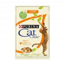 Cat Chow,влажный корм для кошек с курицей и кабачками,пауч 85 гр.