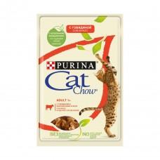 Cat Chow,влажный корм для кошек с говядиной и баклажанами,пауч 85 гр.