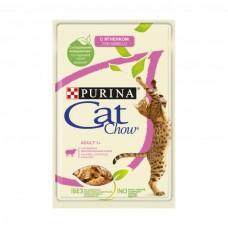 Cat Chow,влажный корм для кошек с ягненком и зеленой фасолью,пауч 85 гр.