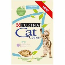 Cat Chow,влажный корм для котят с индейкой и кабачками,пауч 85 гр.