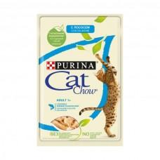 Cat Chow,влажный корм для кошек с лососем и зеленой фасолью,пауч 85 гр.