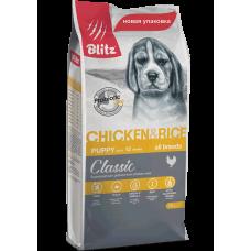 Blitz Puppy Chicken & Rice, корм для щенков всех пород с курицей,уп.15 кг.