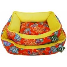 "ЕвроПродукт №1,фэшн лежанка ""оранжевые цветы"" с подушкой,64х52х17 см."