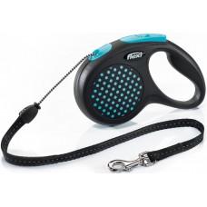 Flexi Design M, поводок-рулетка синяя, для собак до 20 кг.,трос 5 м.