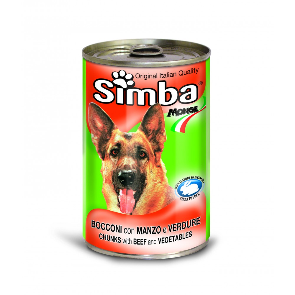 Simba Cans,кусочки с говядиной и овощами для собак, банка 1230 гр.