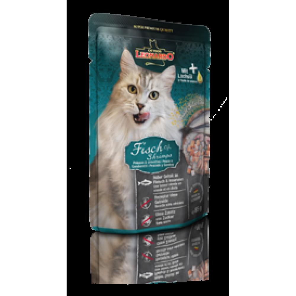 Leonardo Finest Selection Fish&Shrimp Pouch,влажный корм для кошек с креветками и рыбой,пауч 85 гр.