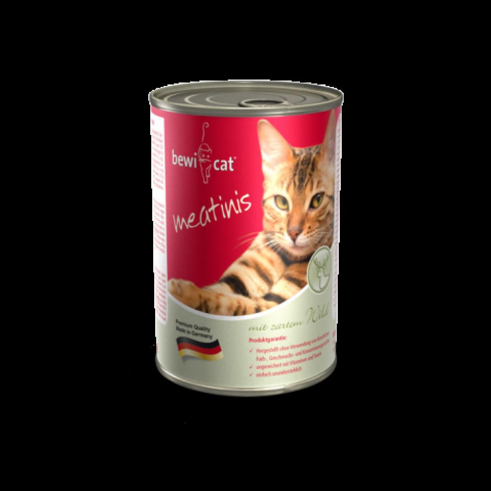 Bewi Cat Meatinis Venison,влажный корм для кошек с олениной,банка 400 гр.