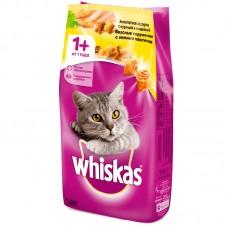 Whiskas,сухой корм для кошек подушечки с паштетом из курицы и индейки,уп.5 кг.