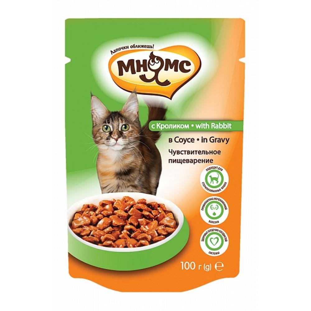 Мнямс влажный корм с кроликом для чувствительного пищеварения,пауч 100 гр.