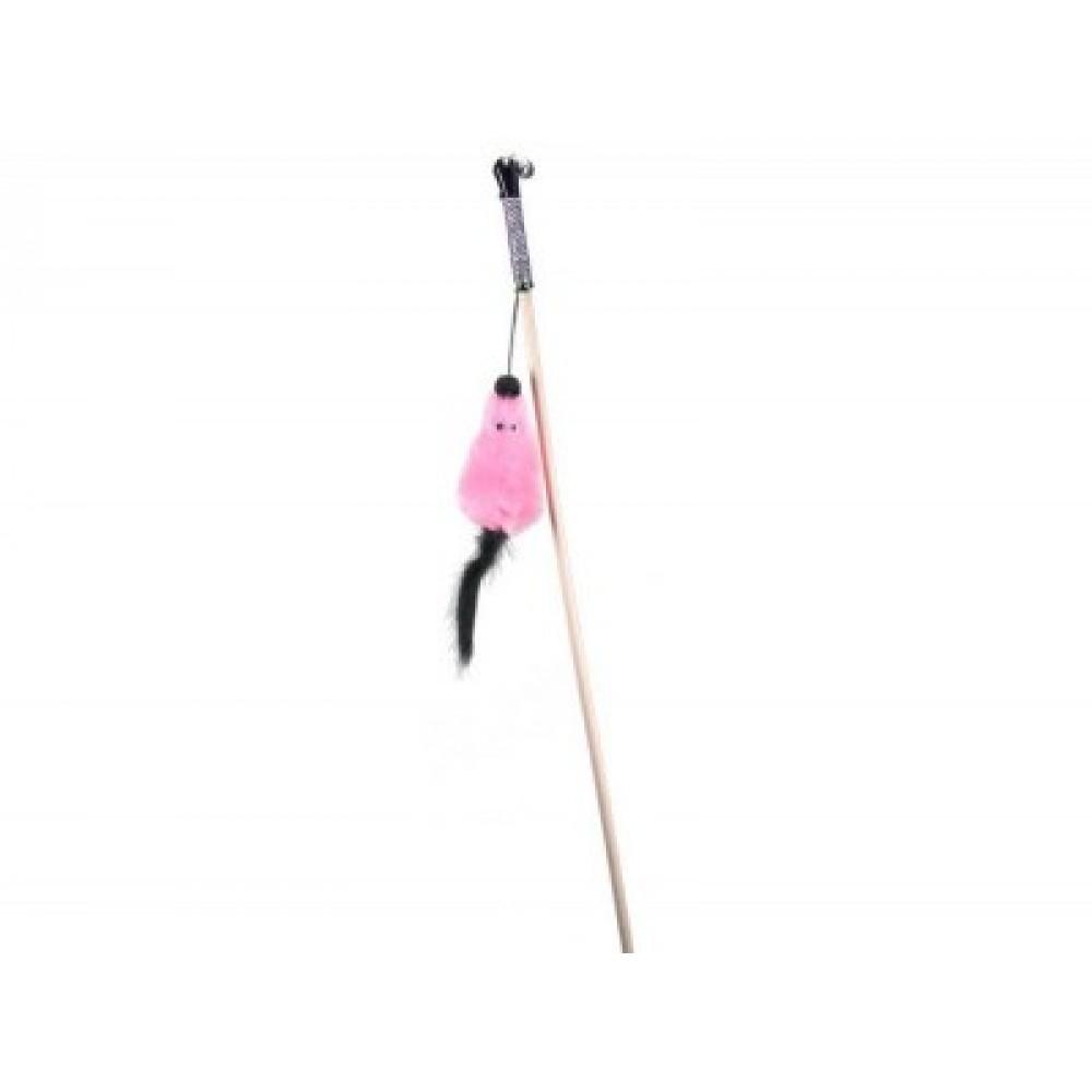 ЕвроПродукт №1,дразнилка мышь с мятой розовая,из меха,удочка,50 см.