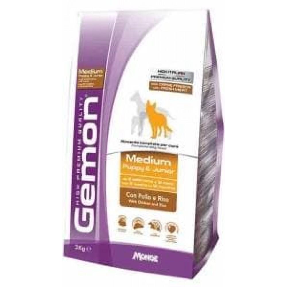 Gemon Dog Medium Puppy&Junior,сухой корм для щенят средних пород с курицей и рисом,уп.15 кг.