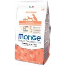 Monge Dog All Breeds Adult Salmone&Rice,сухой корм для взрослых собак с лососем и рисом,уп.12 кг.