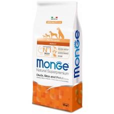 Monge Dog All Breeds Adult Duck&Rice&Potato,сухой корм для взрослых собак с уткой,рисом и картофелем,уп.12 кг.