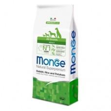 Monge Dog All Breeds Adult Rabbit&Rice&Potato,сухой корм для взрослых собак с кроликом,рисом и картофелем,уп.12кг.