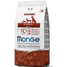 Monge Dog All Breeds Puppy&Junior Lamb&Rice,сухой корм для щенков и юниоров с бараниной и рисом,уп.12 кг.