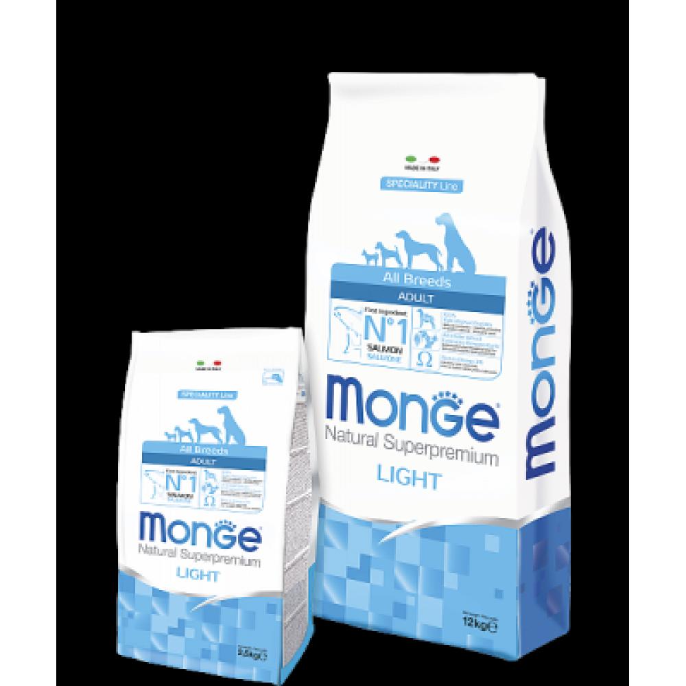Monge Dog All Breeds Light Salmon&Rice,облегченный сухой корм для собак всех пород,уп.12 кг.