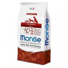 Monge Dog All Breeds Adult Lamb&Rice&Potato,сухой корм для взрослых собак с бараниной,рисом и картофелем,уп.12 кг.