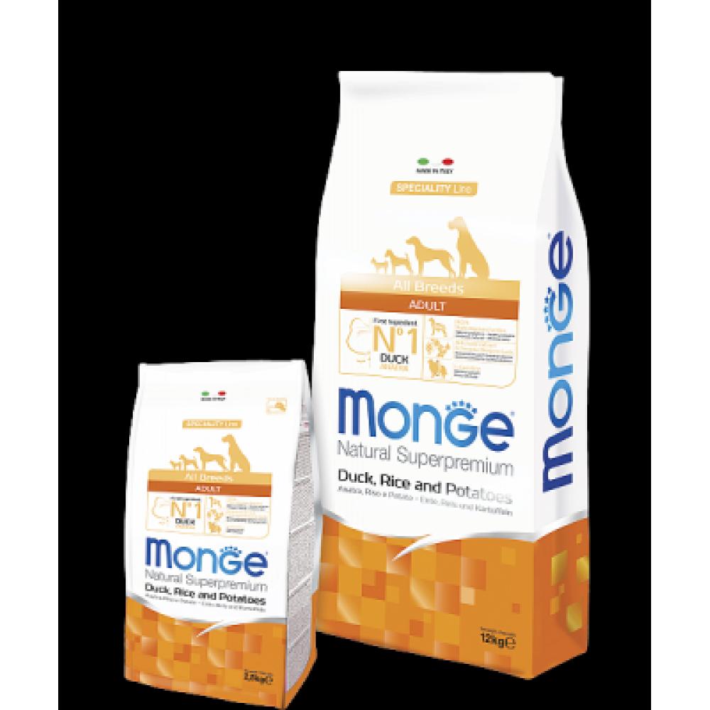 Monge Dog All Breeds Adult Duck&Rice&Potato,сухой корм для взрослых собак с уткой,рисом и картофелем,уп.2,5 кг.