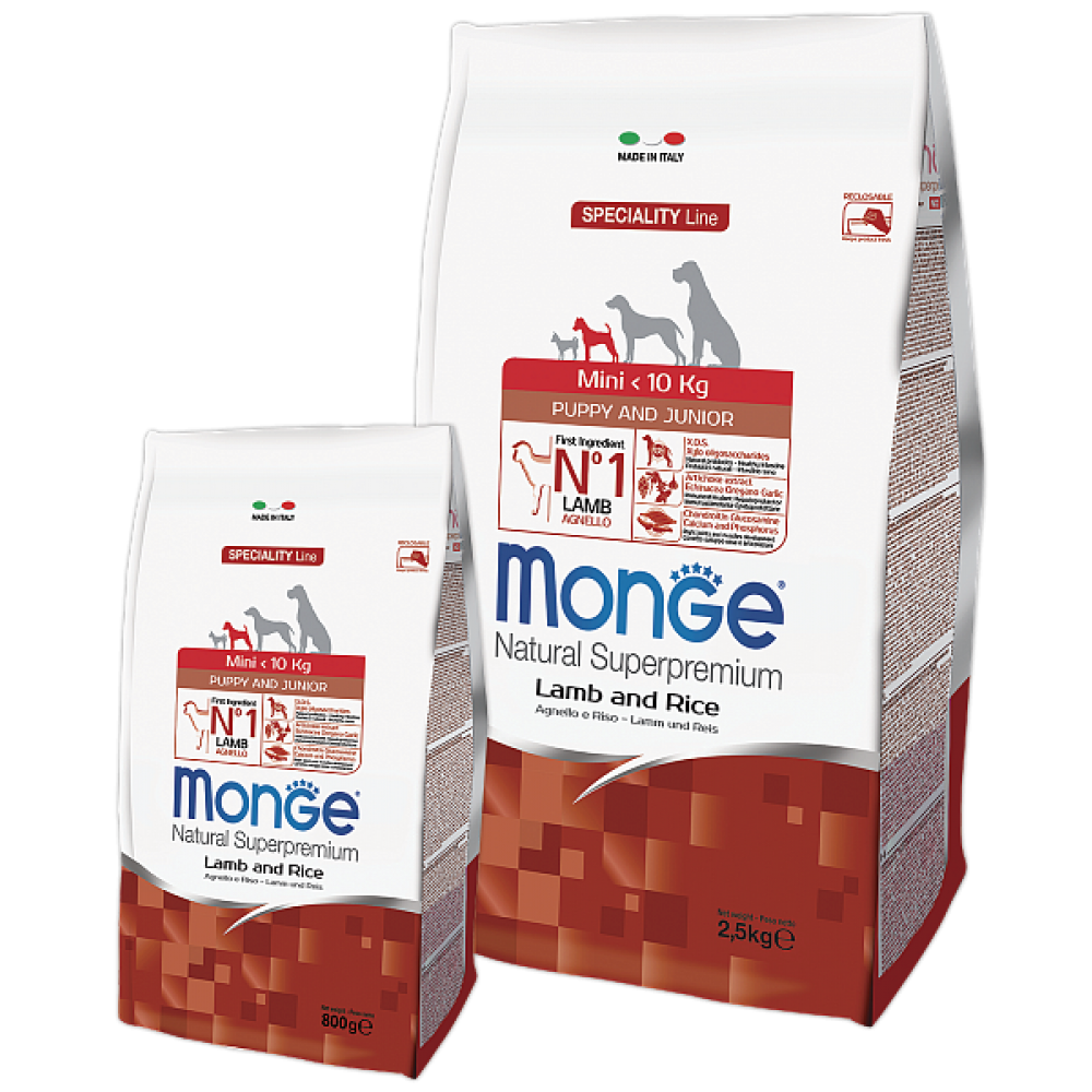 Monge Dog All Breeds Puppy&Junior Lamb&Rice,сухой корм для щенков и юниоров с бараниной и рисом,уп.2,5 кг.