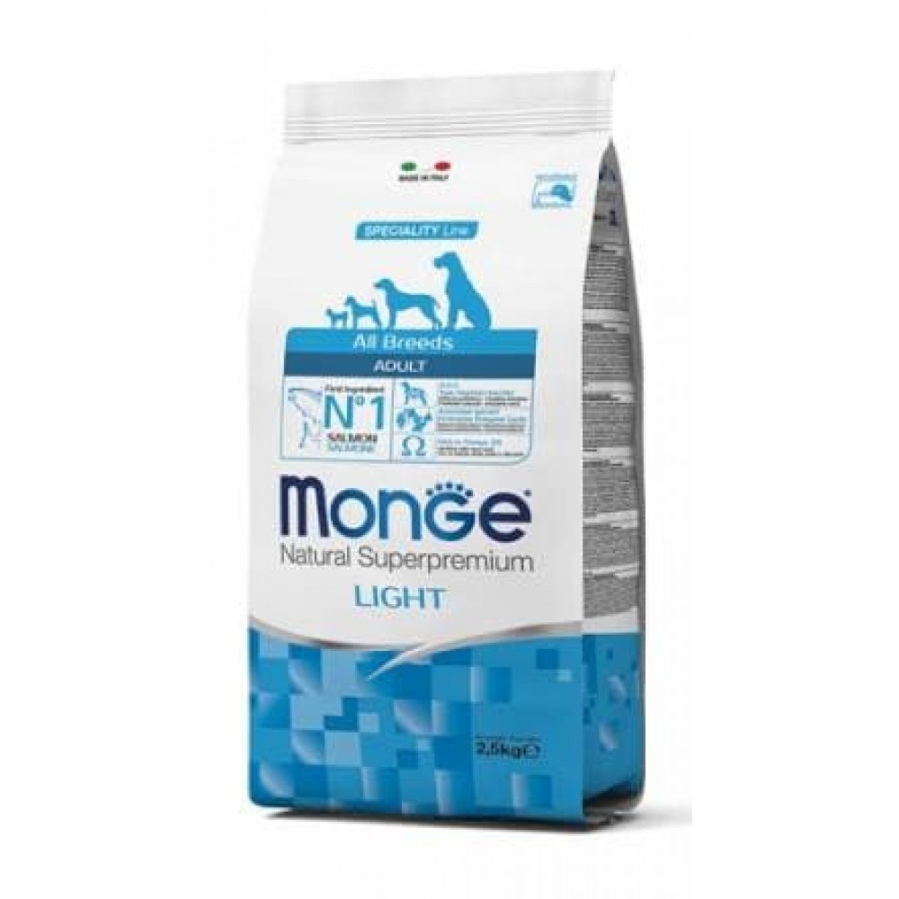 Monge Dog All Breeds Light Salmon&Rice,облегченный сухой корм для собак всех пород,уп.2,5 кг.