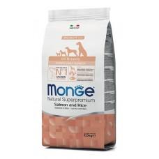 Monge Dog All Breeds Puppy&Junior Salmone&Rice,сухой корм для щенков и юниоров с лососем и рисом,уп.800 гр.