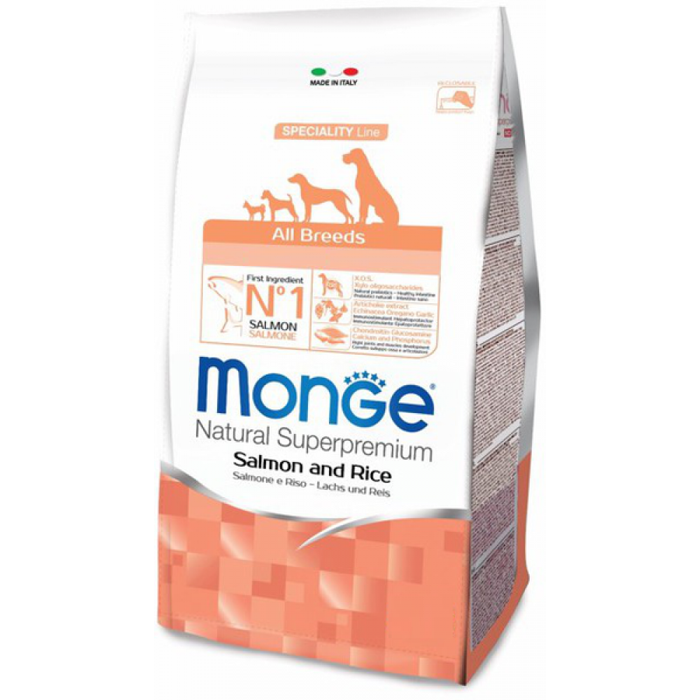 Monge Dog All Breeds Adult Salmone&Rice,сухой корм для взрослых собак с лососем и рисом,уп.2,5 кг.