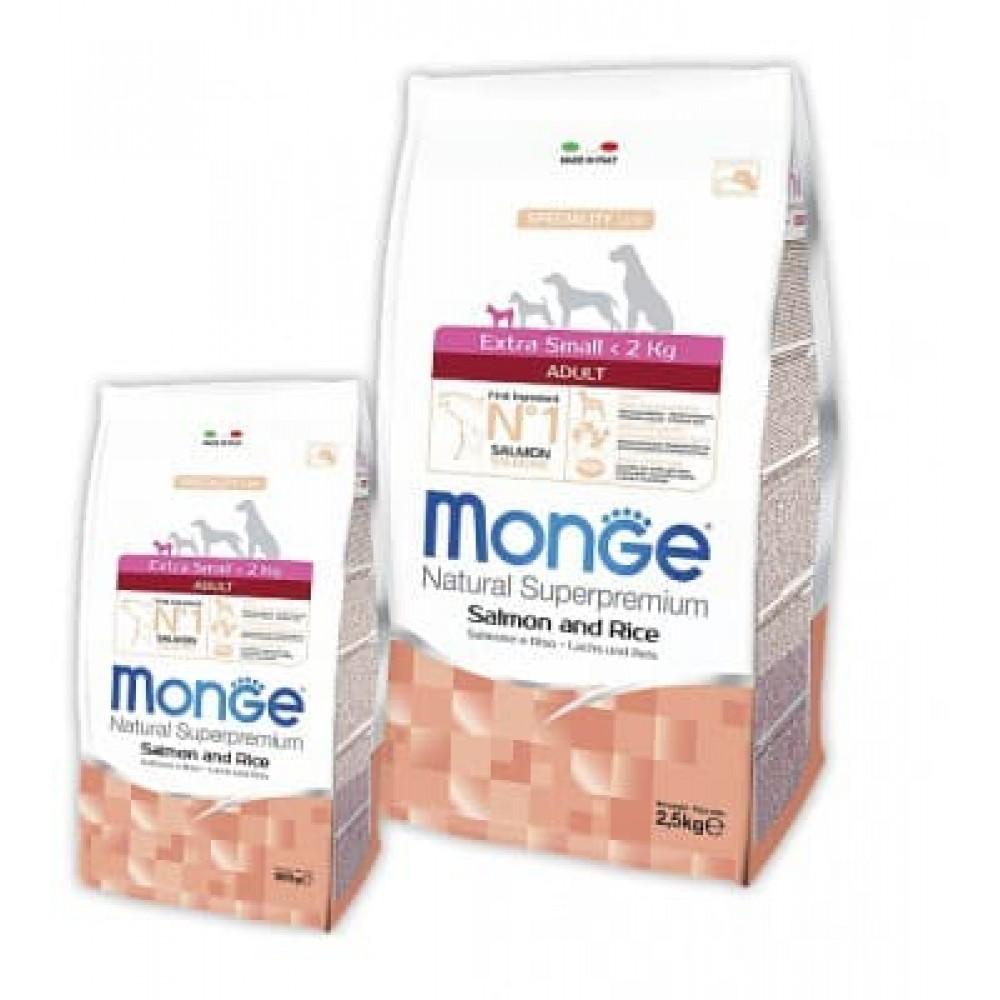 Monge Dog Extra Small Adult Salmone&Rice,сухой корм для взрослых собак миниатюрных пород с лососем и рисом,уп.2.5 кг.