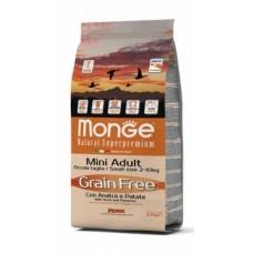 Monge Dog Grain Free Mini Adult Duck,сухой беззерновой корм для мини пород с уткой и картофелем,уп.2,5 кг.