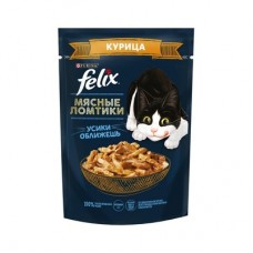 Felix Мясные ломтики, консервированный полнорационный корм для взрослых кошек, с курицей 75 гр