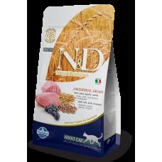 Farmina N&D,низкоззерновой корм для взрослых кошек с ягненком и черникой,1.5 кг.