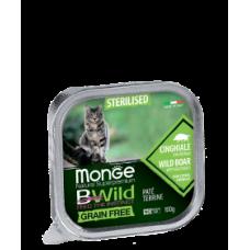 Monge BWild Cat Grain Free Paté terrine Cinghiale кабана с добавлением овощей для стерилизованных кошек 100г