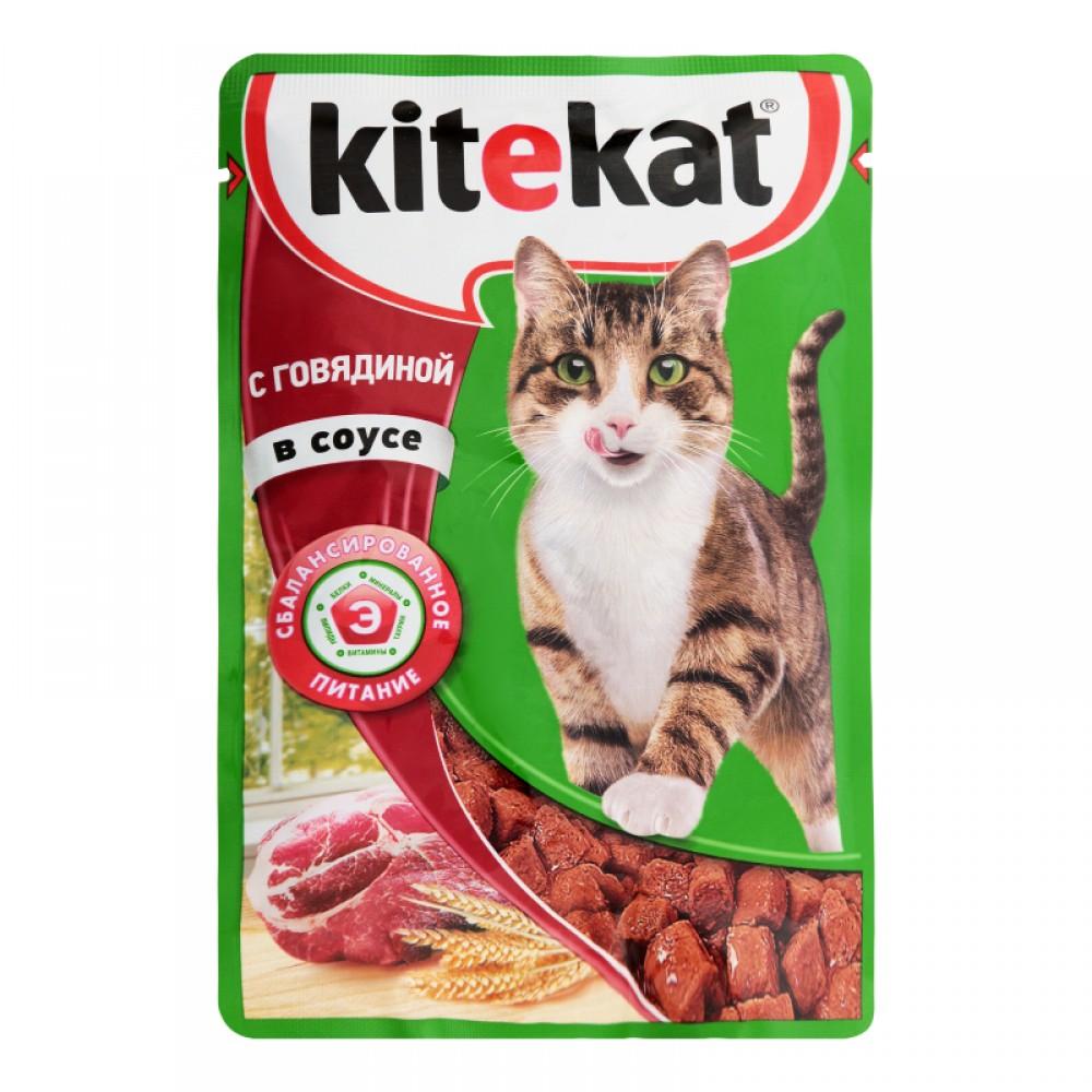 Kitekat влажный корм для кошек с говядиной в соусе,уп.28*85 гр.