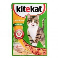 Kitekat влажный корм для кошек с курицей в желе,уп.28*85 гр.