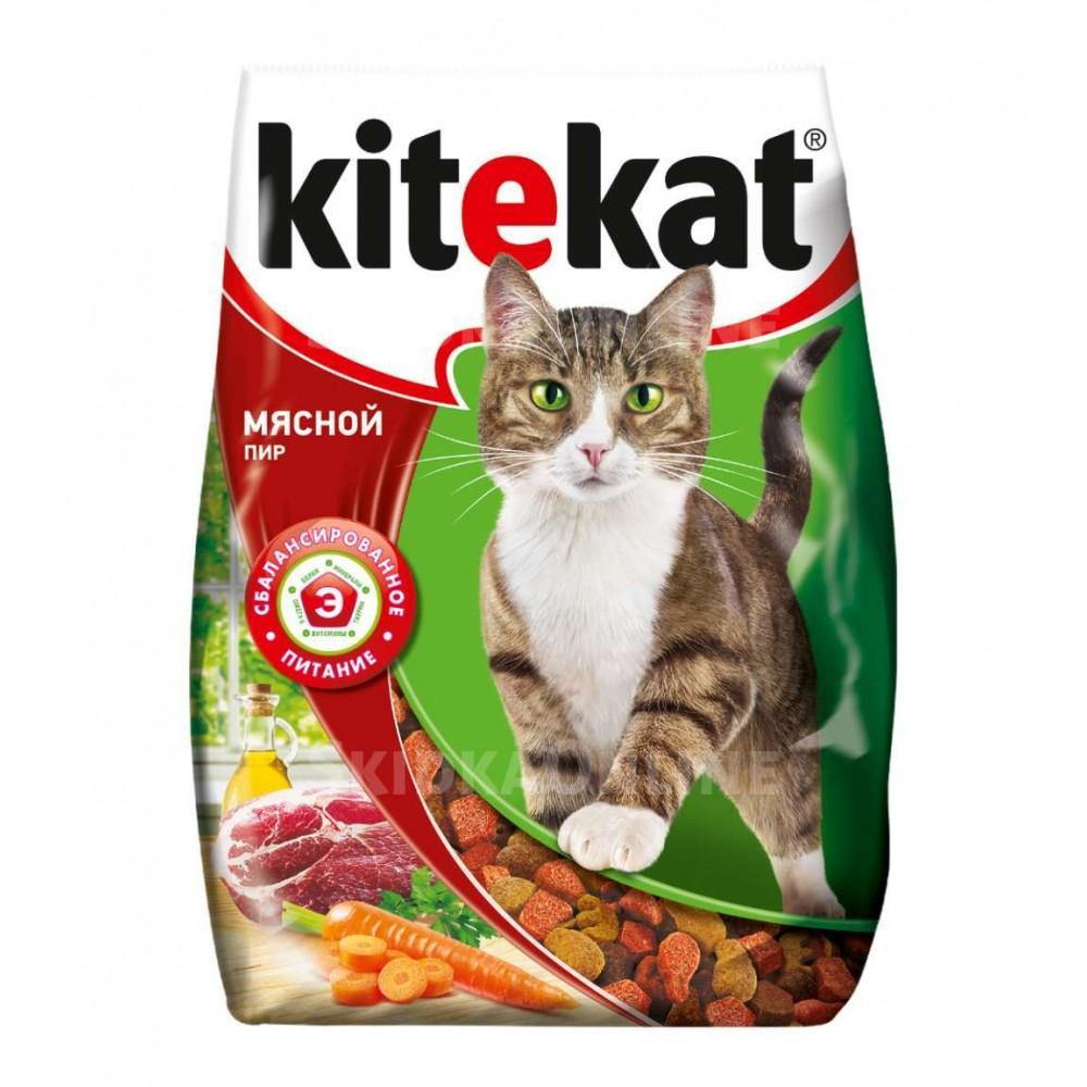 Kitekat сухой корм для кошек Мясной пир,уп.350 гр.