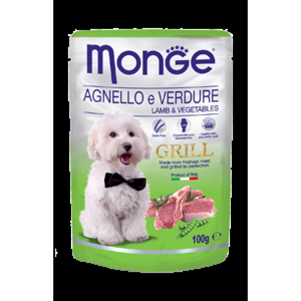 Monge Dog Grill,влажный корм для собак c бараниной и овощами,уп.100 гр.