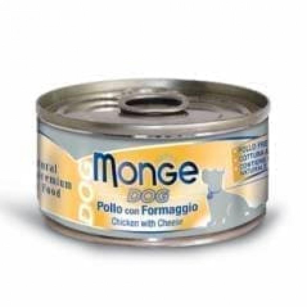 Monge Dog Cans,влажный корм для собак цыпленок с сыром,банка 95 гр.