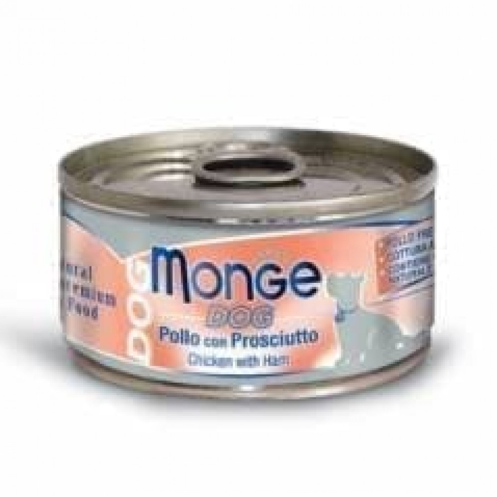 Monge Dog Cans,влажный корм для собак курица с ветчиной,банка 95 гр.