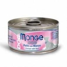 Monge Dog Cans,влажный корм для собак цыпленок с говядиной,банка 95 гр.