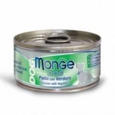 Monge Dog Cans,влажный корм для собак цыпленок с овощами,банка 95 гр.